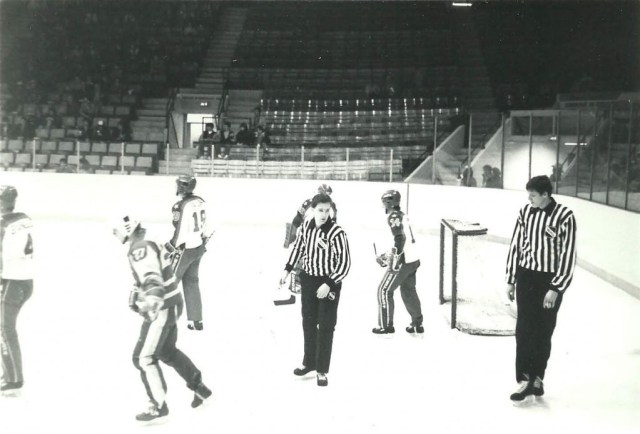 Linesman Mike Cvik, on right, back in his WHL days