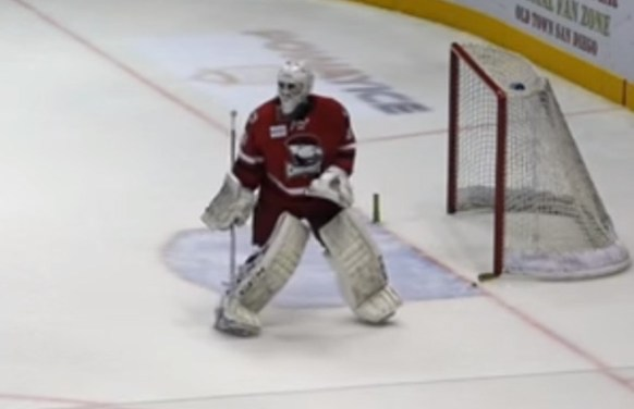 Checkers' Goaltender Stops Rush By Dislodging Net