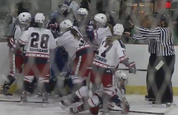 NWHL's Riveters, Whale Combine for Line Brawl