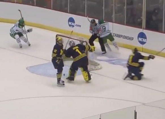 North Dakota Player Scores Goal, Gets Taken Out By Referee