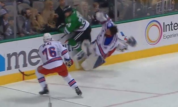 Stars' Eakin Ejected For Steamrolling Rangers' Lundqvist