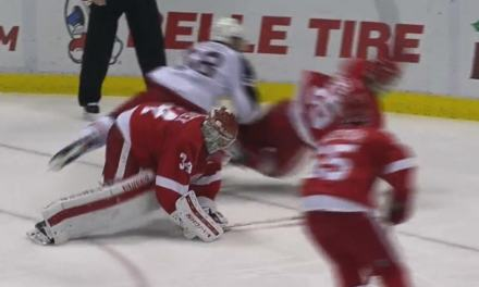 Wings' Mrazek Gives Up Goal After Covering Puck Outside of Crease