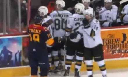 Otters' Strome Scores With Opponent's Stick