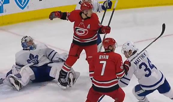 Leafs goaltender Frederik Andersen draws an interference call on Carolina's Jeff Skinner on November 24, 2017