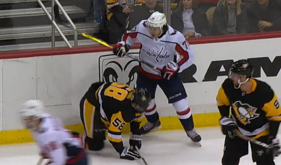 Caps' Oshie Fined $5000 for Cross-Checking Pens' Letang