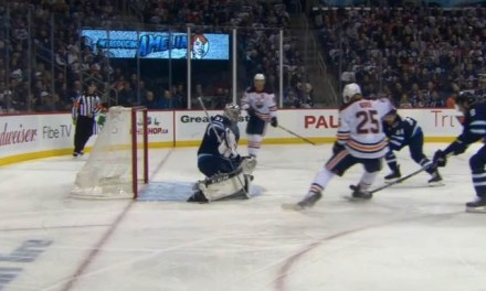 Oilers' Nurse Scores on Skate Deflection
