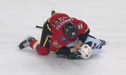 Flames' Lomberg Suspended, Coach Fined, for Late-Game Fight