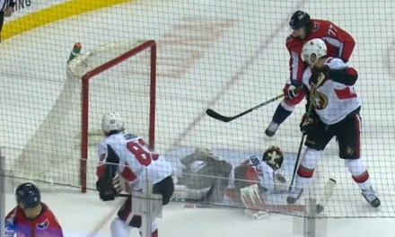 Caps Score on Displaced Net; Goal Stands After Review
