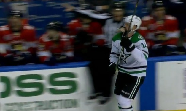 Stars' Benn Clotheslined by Linesman