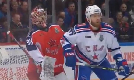 KHL Playoff Goal Waved Off After Player Obstructs Goaltender's Vision