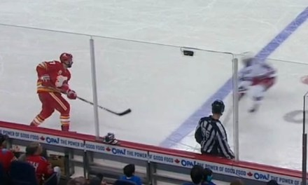 Flames' Brodie Yells at Linesman, Linesman Yells Back