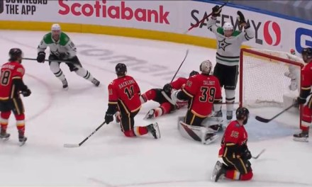 Flames' Coach's Challenge Wipes Out Tying Goal from Stars' Dickinson