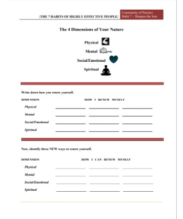 7 Habits Worksheet Scouting Web