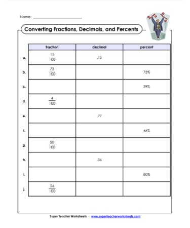 Fraction Decimal Percent Worksheet Scouting Web
