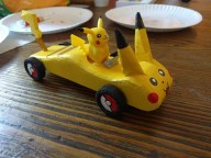 Picachu (Pokemon) themed car used in the 2017 pinewood Derby for pack 399, Raleigh, NC.