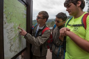Scouts from Troop 208 in PA arrive at the trailhead for their hike to Sky Pond, in Rocky Mountain National Park, Colorado