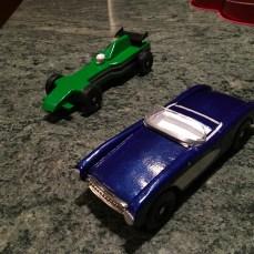Corvette and Green Racecar