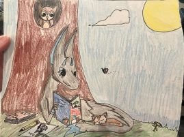 Midnight the Dragon reading Boy's Life