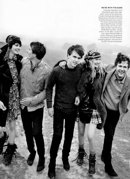 September 2013 VOGUE magazine with hand distressed sweaters by Scout Original