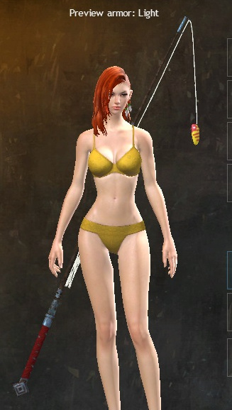 Guild Wars 2 fishing rod staff equipped on a human character
