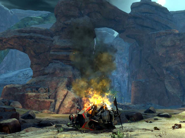 Crashed Pact helicopter in The Silverwastes Guild Wars 2 map