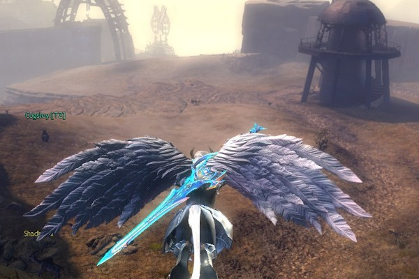 Character gliding in Guild Wars 2 WVW desert borderlands map