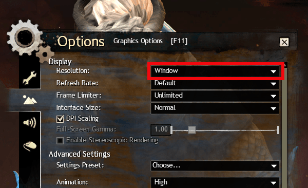 Set Guild Wars 2 graphics options for TacO overlay