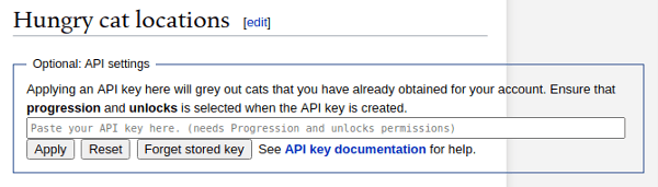 Paste your API key in to the Hungry cat scavenger hunt page to see which cats you have and need