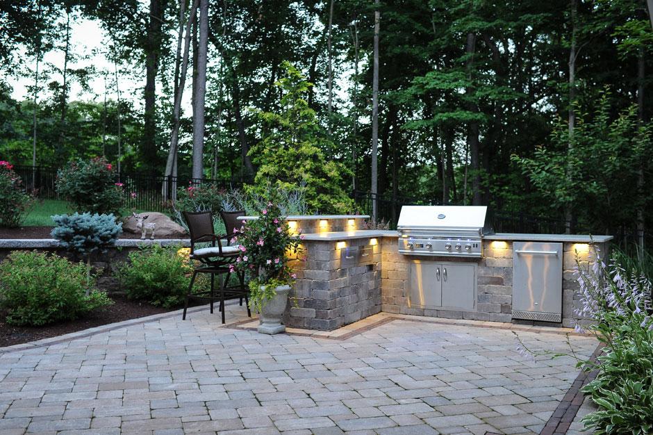 Outdoor Grill Island, Plantings, Patios, Design, Scovills Landscape,  Landscape Design,