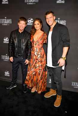 NEW YORK, NY - OCTOBER 03: (L-R) Comic book creator Rob Liefeld, and actors Minka Kelly and Alan Ritchson attend DC UNIVERSE's Titans World Premiere on October 3, 2018 in New York City. (Photo by Dave Kotinsky/Getty Images for DC UNIVERSE)