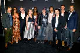 NEW YORK, NY - OCTOBER 03: Titans Executive Producers and Cast (L-R) John Fawcett, Minka Kelly, Akiva Goldsman, Teagan Croft, Anna Diop, Geoff Johns, Brenton Thwaites, Ryan Potter, Alan Ritchson and Greg Walker attend DC UNIVERSE's Titans World Premiere on October 3, 2018 in New York City. (Photo by Dave Kotinsky/Getty Images for DC UNIVERSE)
