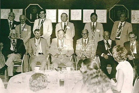 Hubert D. Osteen, Sr. (bottom, second from right) poses with other SC Press Association presidents.