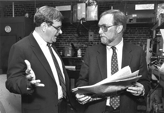 Bill Collins and John O'Brian, publisher of the newspaper in Somerville, N.J., who brought money and supplies to Summerville after Hurricane Hugo.