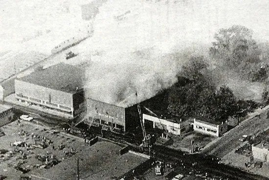 Fire wrecking havoc on the newspaper printing plant.