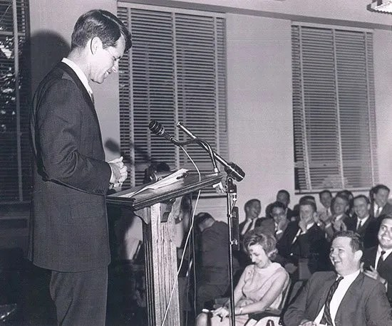 Statehouse press conference with Bobby Kennedy.
