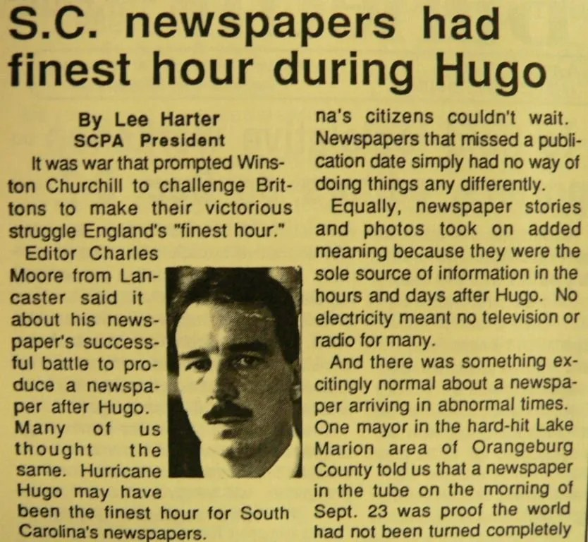 Harter's story about Hurricane Hugo in the SCPA Bulletin.