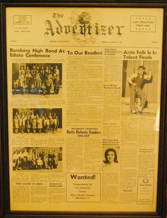 The Advertizer's first issue off the press.