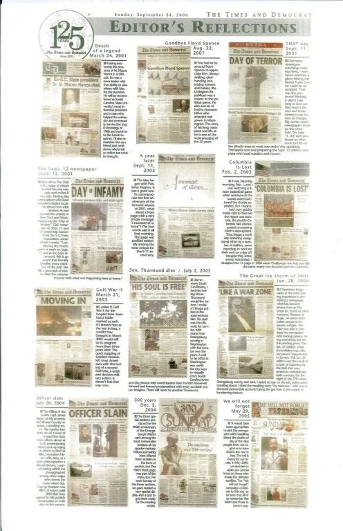 """In """"Editor's Reflections,"""" Harter recalls 25 years of news during the Times and Democrat's 125th anniversary (page three)."""