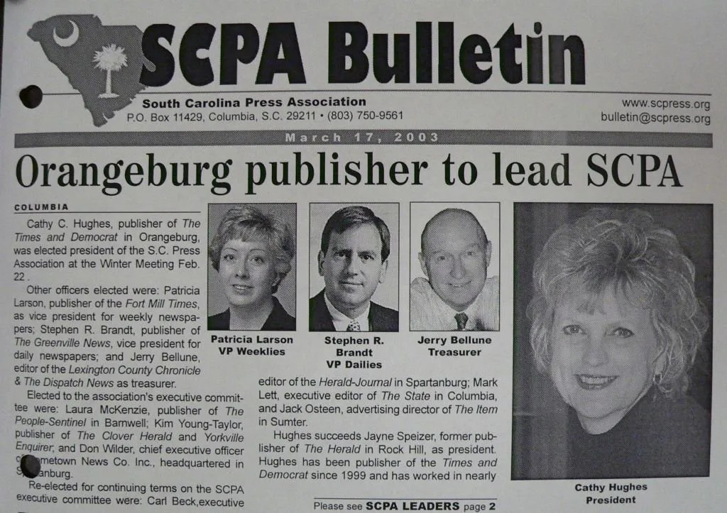 The SCPA bulletin announces Hughes as the new SCPA President on March 17, 2003.