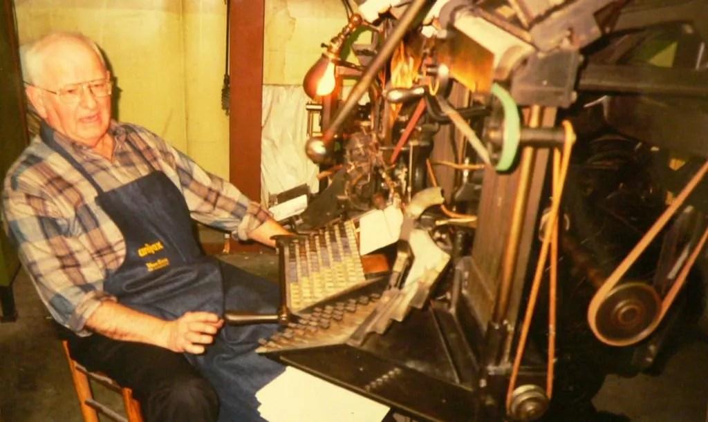 Kilgus working on the linotype type casting machine.