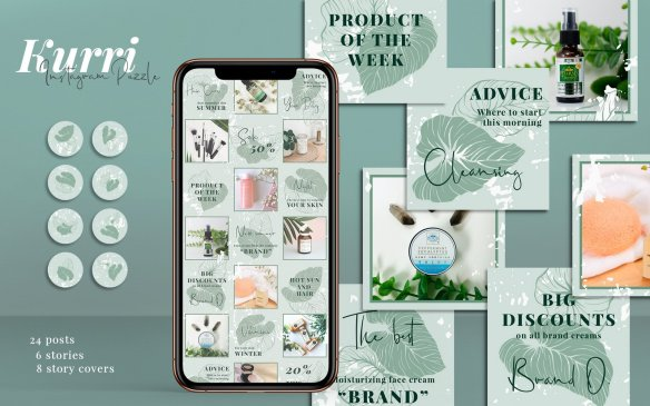 Kurri - Instagram Puzzle Templates Social Media