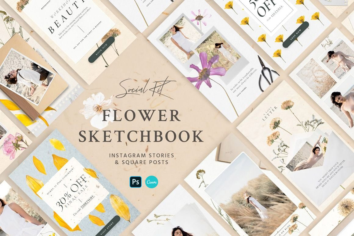 Flower Sketchbook Stories Kit Social Media - Instagram Stories and Square Posts