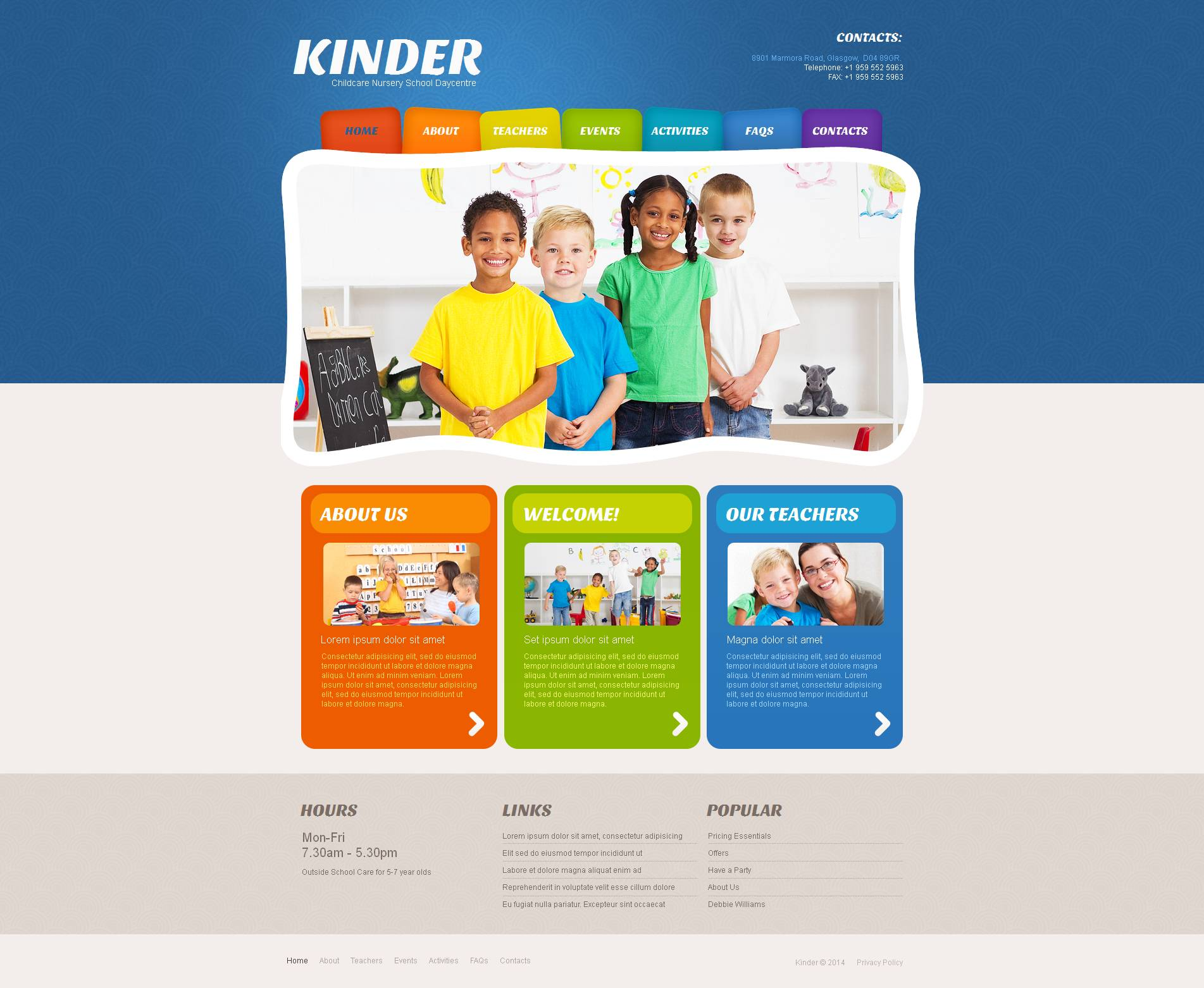 Kids Center Moto CMS HTML Template - Colorful and Fun Template Design