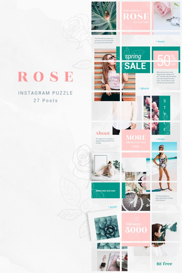 Instagram Puzzle Template - Rose