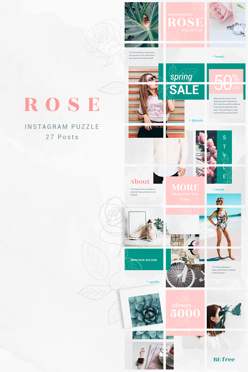 Instagram Puzzle Template - Rose