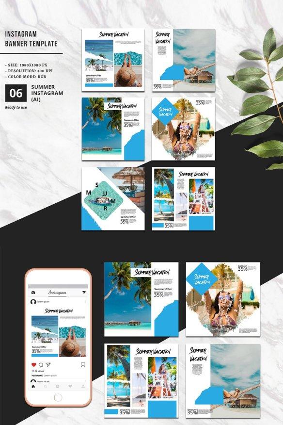 Summer Vacation Instagram Banner Template Social Media - 300 DPI