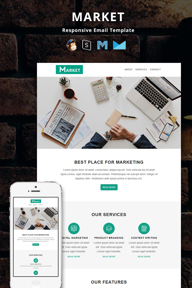 (opens in a new tab or window) 1 of 2. Market Corporate Responsive Email Newsletter Template