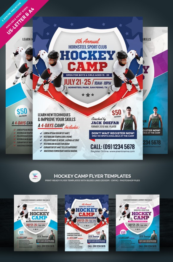 Hockey Camp Ready Made Flyer Template