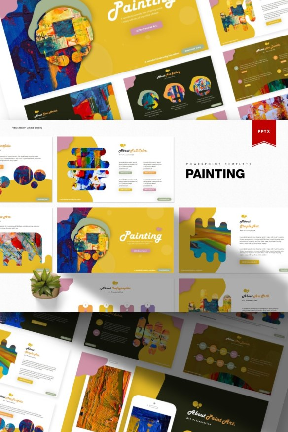 Painting PowerPoint Template - Abstract shapes with painting styles