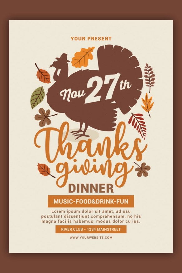 Thanksgiving Flyer - Turkey Design Template